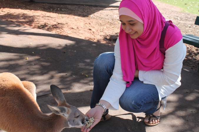 If you know me, I;m not an animal person. I am scared and geli of animals. Not geli yuck but geli tickle. So this, ladies and gentleman, is an achievement for me! Yay! I fed the roo. Still can't believe that I did this.